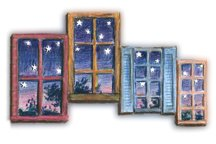 Windows with the night sky filled with stars.