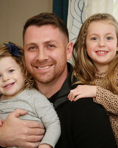 Aaron Osborn with daughters Delilah, 4, and Abigail, 2