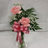 "Double Carnation in Vase ""Get Well"""
